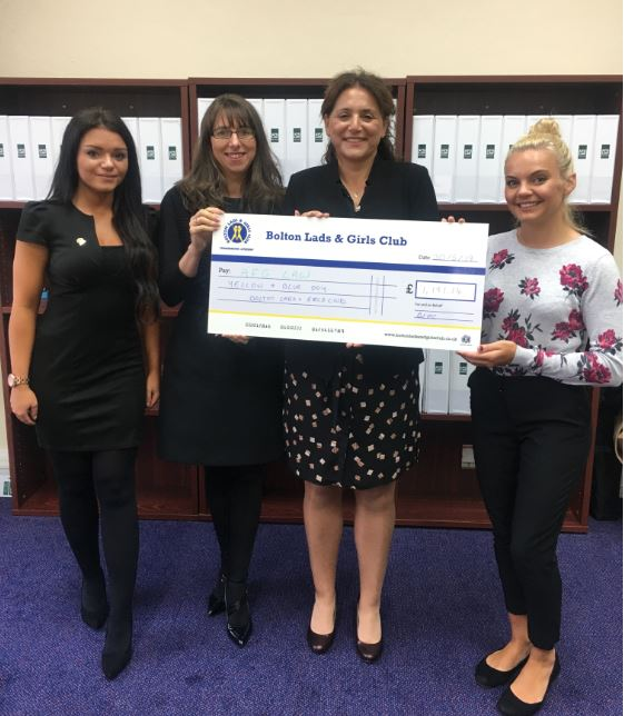 Pictured L-R: Kelly McFadden (Head of Fundraising Bolton Lads & Girls Club), Anita Boardman (Managing Director AFG LAW), Tracy Haslam (Chartered Legal Executive AFG LAW) and Katie Conway (Head of Community Fundraising Bolton Lads & Girls Club)